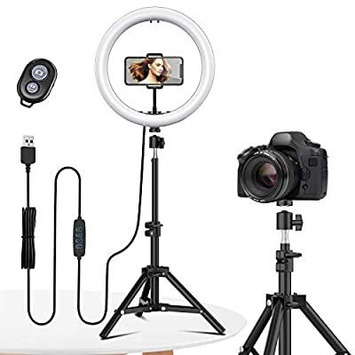"""12"""" Selfie Ring Light with Tripod Stand - Dimmable Desktop Ringlight with DIY Ports, Circle Light LED Camera Lighting for Live Stream/Makeup/YouTube/TikTok, Compatible with iPhone Android from EYONMÉ"""