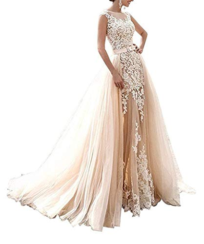 RYANTH Women's Mermaid Lace Wedding Dress Detachable Train 2019 Tulle Appliques Prom Formal Gown R90 Champagne 14