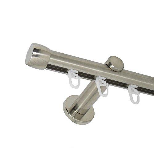 Deko-Team Innenlauf Gardinenstange 20 mm einläufig mit Endkappe Wandbefestigung (120 cm)