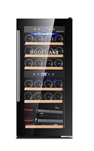 BODEGA43-24 Vinoteca - Refrigerador de vino con 2 zonas, 5-20 ºC, 80 litros, 24 botellas, 6 estantes, puerta de cristal de diseño con panel táctil, bajo ruido (39 dB) y baja vibración, en negro