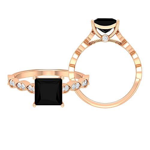 Anillo de ónix negro de 6,5 mm, corte princesa, D-VSSI, anillo de oro moissanita, anillo solitario con piedras laterales, anillo de banda marquesa (calidad AAA), 14K Oro rosa, Size:EU 70