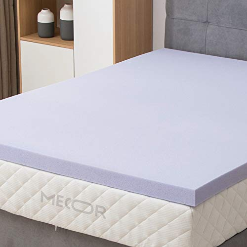 Mecor 3in 3 inch Queen Size Gel Infused Memory Foam Mattress Topper-Flat Design Bed Mattress Topper for Side, Back, Stomach Sleepers-CertiPUR-US Certified/Purple