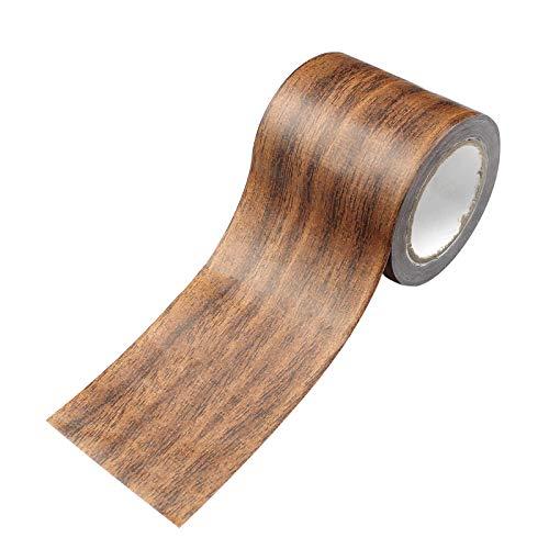 Hrroes Imitation träfiber kanal tejp golv träeffekt tejp träfiber tejp vattentät för laminatgolv repreparation, antik ek (5,7 cm x 4,57 m) brun