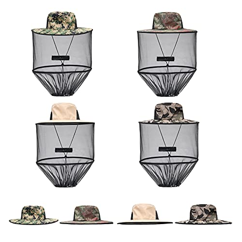 SYWAN 2 in 1 ArmyGreen Mosquito Net Hat with Removable Mosquito Mesh Net,4Pcs Foldable Mosquito Net Cap with Hidden Mesh Net Mask for Outdoor Fishing Hiking Gardening