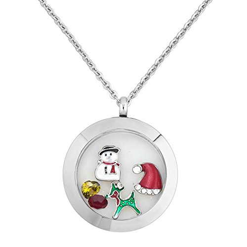 Uniqueen Fit Pandora Charms Green Deer Snowman Floating Charm Living Memory Round Lockets Pendant Necklace