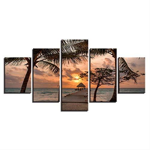 DGGDVP canvas kunstdruk modulaire houten brug schilderij poster wand 5 panelen zonsondergang afbeelding voor huishoudtextiel zee kinderkamer 40x60cmx2 40x80cmx2 40x100cmx1 Geen frame.