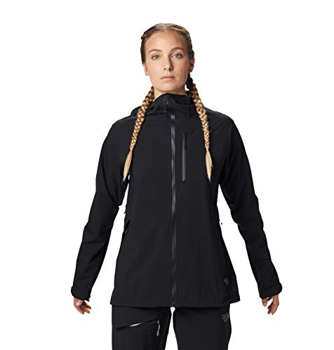 Mountain Hardwear Women's Stretch Ozonic Jacket Waterproof Breathable for Hiking, Backpacking, and Everyday - Black - Medium