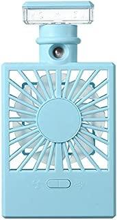 SHANGRUIYUAN-Mini Fan Multifunction Humidifying Mini Electric Fan, USB Charging Handheld Light Spray Portable Fan (Color : Blue)