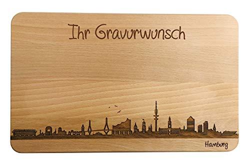 Brotzeitbrett Hamburg Skyline | Frühstücksbrettchen aus Buche | Holz Schneidbrett | Geschenk mit Gravur | Frühstücksbrett (Brett L (26x16x1,5cm), mit persönlicher Gravur)