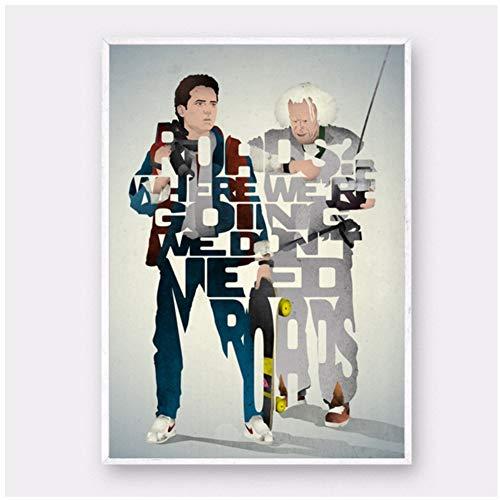 Marty McFly y Doc Brown - Regreso al futuro póster de película Arte de la pared Pinturas sobre lienzo para la decoración de la vida Regalos para padres y amigos -40x60cm Sin marco