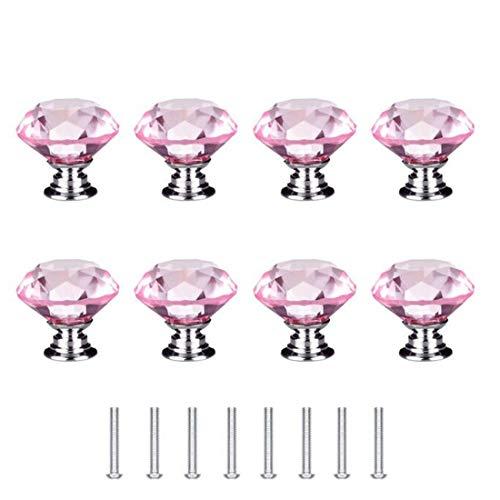 Concisea 8 Pezzi 30mm Pomelli di Cristallo,Pomelli Vetro Cristallo,pomelli cristallo diamante per mobili con Viti Manopole per cassetti Maniglia per armadietto Maniglie per mobili da Cucina(rosa)