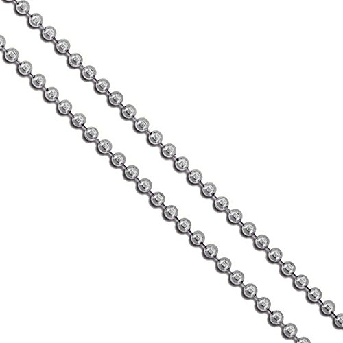 """Stainless Steel Military Ball Bead Chain 2mm Dog Tag Link Pallini Necklace 24"""""""