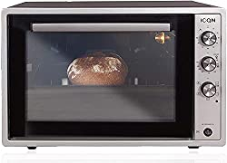 ICQN 60 Liter XXL Minibackofen   1800 W   Umluft   Pizza-Ofen   Doppelverglasung   Drehspieß   Timer   inkl. Backblech Set   Elektrischer Mini Ofen   40°-230°C   Emailliert   Inox Grau