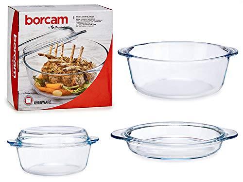 TU TENDENCIA ÚNICA Juego de 2 Piezas de Cocina de Vidrio Borcam para Horno y microondas. Cacerola y Tapa Aptas para Nevera y Congelador