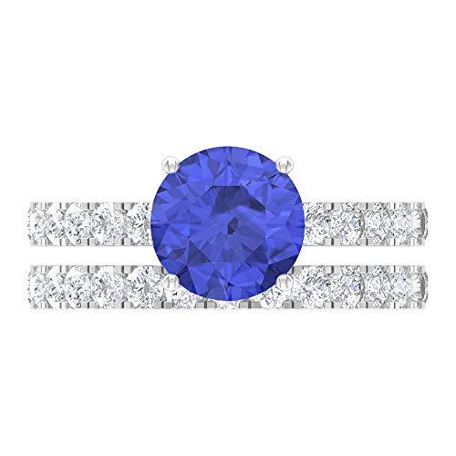 Anillo de rodolita de 3,04 CT, D-VSSI Moissanita, anillo de novia, anillo de compromiso de 8 mm de corte redondo, anillo solitario con piedras laterales, 14K White Gold, Rhodolite, Size:US 48