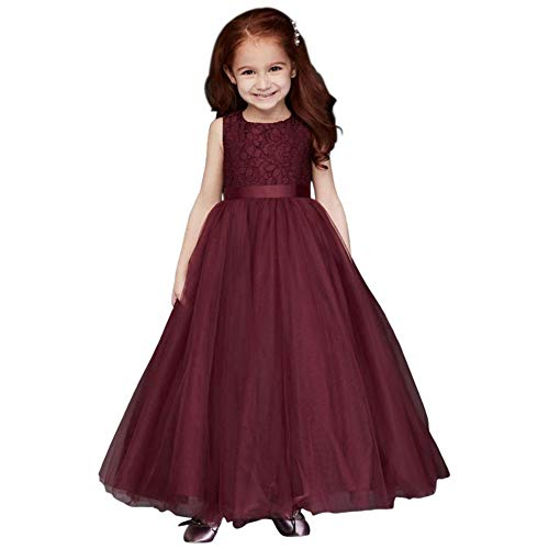 David's Bridal Heart Cutout Flower Girl/Communion Ball Gown Flower Girl/Communion Dress Style WG1400, Wine, 6