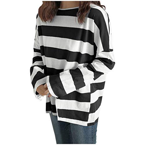 Damen Mädchen T-Shirt Gestreiftes Pullover Kurzarm Lose Oberteile T Shirt Tops Freizeit Koreanische Version Kleidung, Schwarz, Large