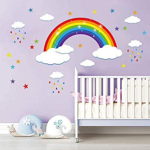 decalmile Pegatinas de Pared Estrella Arco Iris Vinilos Decorativos Nube Adhesivos Pared Infantil Dormitorio Habitación Bebé Guardería