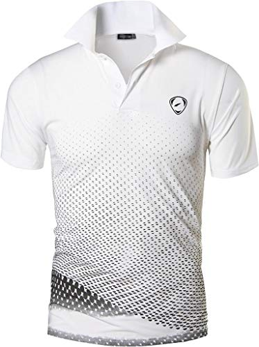 jeansian Herren Summer Sportswear Wicking Breathable Short Sleeve Quick Dry Polo T-Shirts Tops LSL195 WhiteBlack L