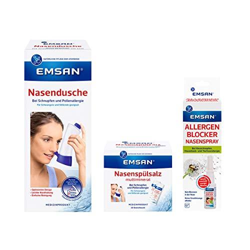 Emsan Heuschnupfen-Set Nasen- Dusche, Salz, Allergenblocker