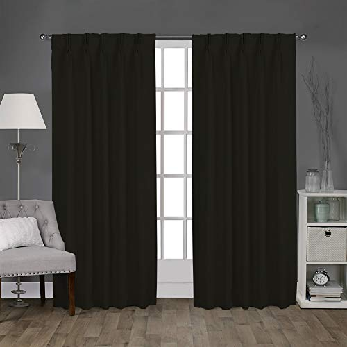 Magic Drapes Double Pinch Pleated Blackout Curtains 100% Polyester Thermal Insulated Room Darkening Drapes and Size Customization can be Done by contacting Buyer via email (Black, Custom Size)