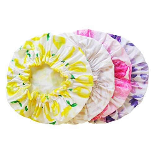 Healifty 4Pcs Bonnets de Douche Imperméables Chapeaux de Douche Élastiques Réutilisables pour Bain Douche Spa Maquillage Modèle Mixte