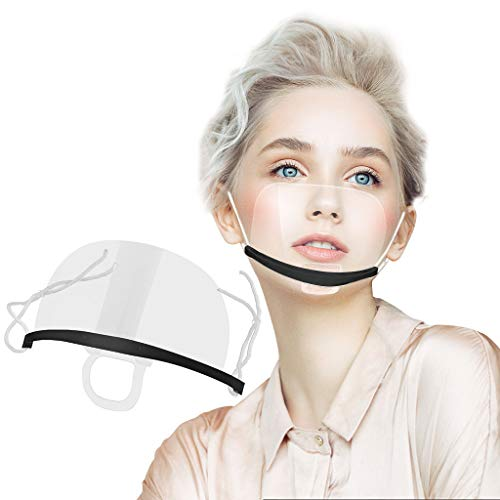 LiLiMeng10pcs Reusable Safety Open Face Shield Anti-Fog Transparent Sanitary Open Face Shield for (Fast Food) Restaurants, Food Truck,Hotels, Mall, Beauty Salons, Barber Shops and so on (20, Black)