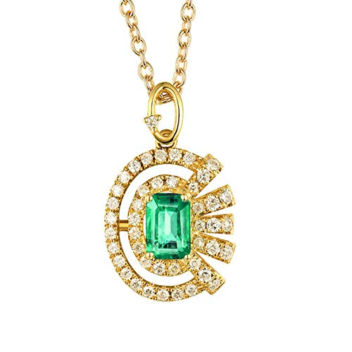 Beydodo Echtschmuck Kette 18 Karat Gold 750 Anhänger Sonne mit 0.65ct Smaragd, Halskette Damen Diamant Gold für Charm 45CM