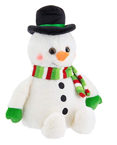Bearington Big Snowball Plush Holiday Snowman Stuffed Animal, 12 inches