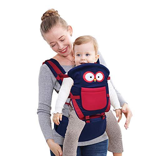 Happy Cherry - Portabebés Mochila Ajustable con Asiento de Cadera para Bebés de 0-36 Meses 24kg Carrier Backpack Baby Transpirable - Azul