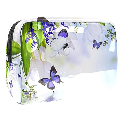 Grande trousse de maquillage de voyage avec motif papillon violet pour femme et fille
