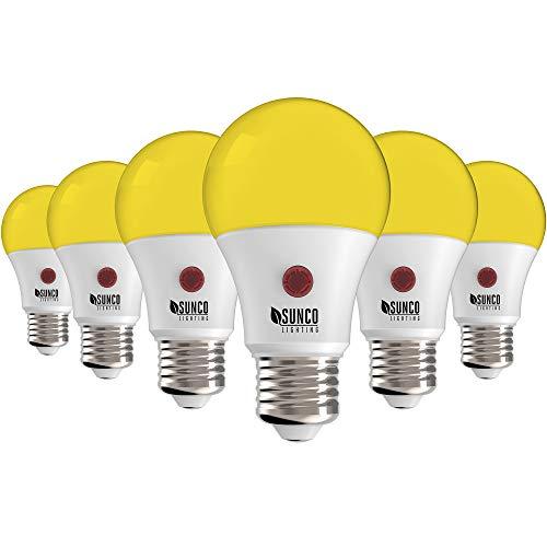 Sunco Lighting A19 LED Bulb, Yellow Light, 9W, Auto On/Off, Dusk-to-Dawn Photocell Sensor, 2000K Amber Glow, Damp Location Patio, Deck, Backyard, Porch - 6 Pack