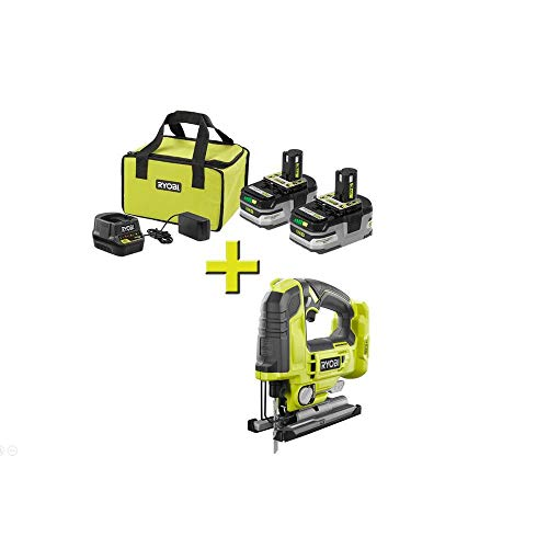 RYOBI P166-P524 18-Volt ONE+ Brushless Jig Saw with ONE+ LITHIUM+ HP 3.0 Ah Battery (2-Pack) Starter...