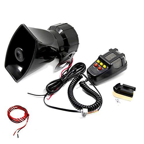 YIYIDA Bocina automática Sirena automática bocina con micrófono Sirena el Sonido Fuerte de la bocina eléctrica se Puede Utilizar para Cualquier camión de policía Camión de 12V Camión SUV