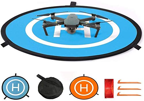 Drone Landing Pad, Universal Waterproof D 75cm/30inch Portable Foldable Landing Pads for RC Drones Helicopter, PVB Drones, DJI Mavic Pro Phantom 2/3/4 Pro, Antel Robotic, 3DR Solo(Blue & Orange)