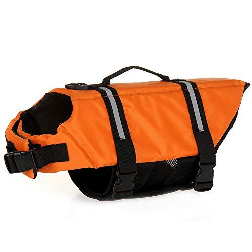 Chaleco salvavidas para perro de Mummumi, ajustable, con asa, para cachorros, salvavidas de natación, chaleco salvavidas (XL, naranja)