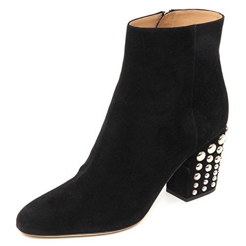 Sergio Rossi E4750 Tronchetto Donna Black Scarpe Borchie Suede Boot Shoe Woman [35]