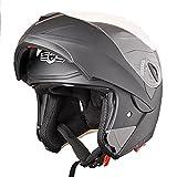 AHR RUN-M Full Face Flip up Modular Motorcycle Helmet DOT Approved Dual Visor Motocross Matt Black L