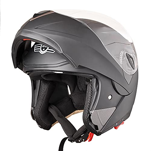AHR RUN-M Full Face Flip up Modular Motorcycle Helmet DOT Approved Dual Visor Motocross Matt Black...