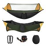 MoKo Amaca da Campeggio con Zanzariera, 2 in 1 Amaca in Nylon con Paracadute Hammock Outdoor Portatile Ultra Leggero Lettino per Viaggio Escursionismo - Arancione & Nero