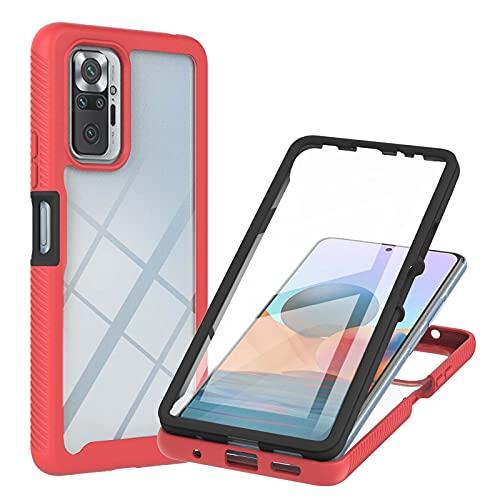 XYOUNG Funda para Xiaomi Redmi Note 9T/Xiaomi Redmi Note 9 5G (6.5'), Funda protectora transparente con protector de pantalla incorporado, color rojo