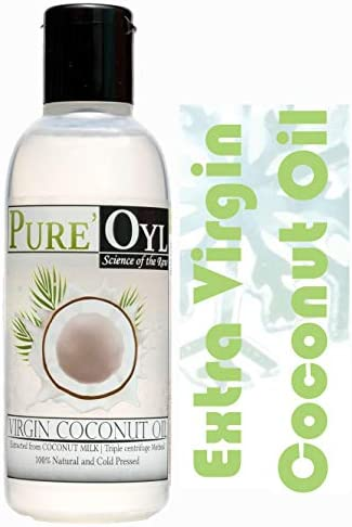 Pureoyl Best Cold Pressed 100 Extra Virgin Coconut Oil 4 Fl Oz for face and hair Easy to melt product image