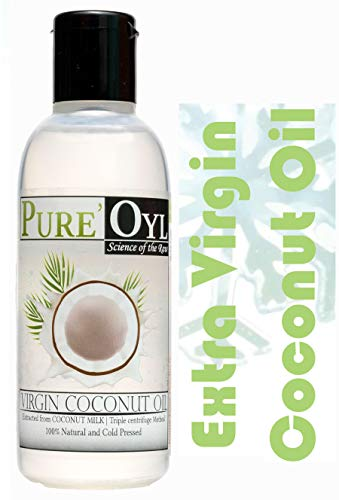Pureoyl Best Cold Pressed 100% Extra Virgin Coconut Oil 4 Fl Oz for face and hair | Easy to melt Microwaveable Spill free bottle | Ideal for Travel Bag and Purse | My personal pack with Smart sensor