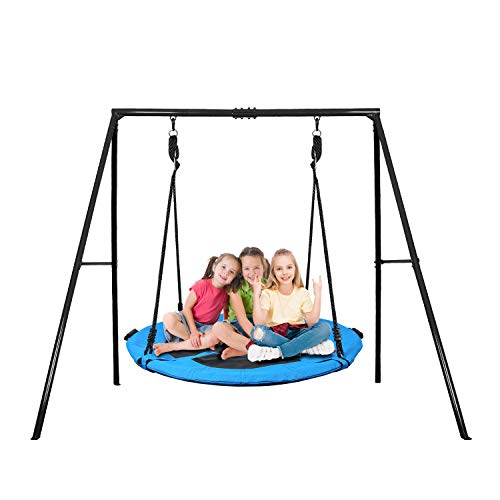 Trekassy 40 Inch Saucer Tree Swing Set with 440lbs Heavy Duty A-Frame Metal Swing Stand