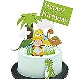 Keleily Cupcake Topper Dino 12 Stück Dinosaurier Tortendeko mit Niedlichen