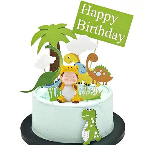 Keleily Cupcake Topper Dino 12 Stück Dinosaurier Tortendeko mit Niedlichen Baby Dinosaurier, 5 Stück Dinosaurier, Baum, Gras und Wolken für Kinder Geburtstagsfeier