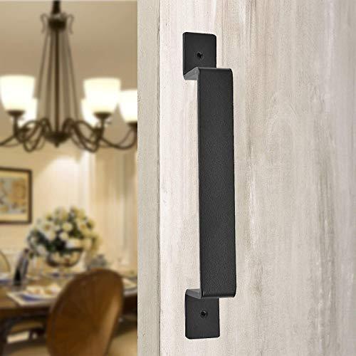 Barn Door Handles,10 Inch Heavy Duty Black Solid Steel Gate Handle Pull Hardware for Sliding Barn Doors, Gates, Sheds, Garages,Pack of 2