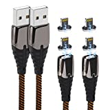 Magnetic iPhone Charging Cable 2Pack 6ft Charger Cord and 4ack Magnet Adapter for Apple iPhone 11/ Xs/Xs Max/XR/X/8/8 Plus/7/7 Plus/6/6s/Plus/SE/5c/5s/5 iPad Air 2/Mini/Max…