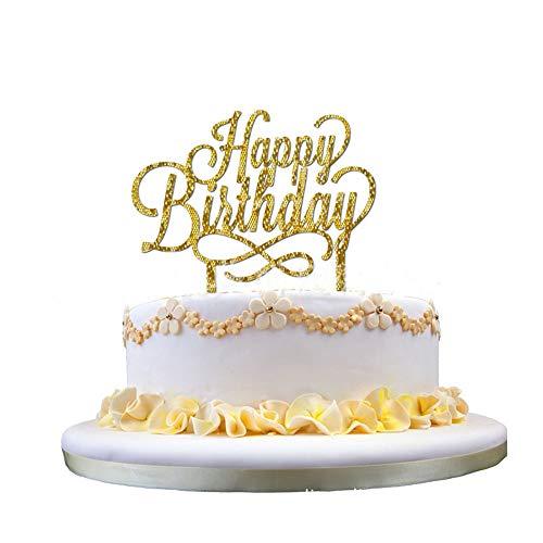 Kitchen-dream Decoraciones de cumpleaños personalizadas Topper de la torta Tarjeta de brillo de 400 gramos de doble cara, acrílico, dorado
