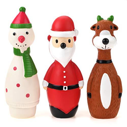 Chiwava Paquete de 3 pequeños juguetes de Navidad para perros interactivos de látex Squeaky Santa Toy